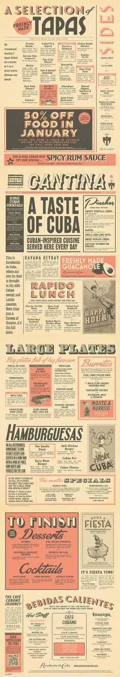 Cuban Cantina Food Menu Graphic Design for Revolucion de Cuba by www.diagramdesign.co.uk