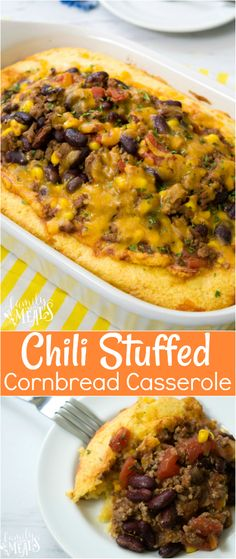 Chili Stuffed Cornbread Casserole Recipe - Family Fresh Meals Recipe As this Chili Stuffed Cornbread Casserole bakes, all the flavors of the chili slowly seep into the cornbread, so all the juices are already soaked in when it comes out of the oven. Mexican Food Recipes, Beef Recipes, Dinner Recipes, Cooking Recipes, Cooking Chili, Cooking Games, Cheap Recipes, Cooking Corn, Tasty