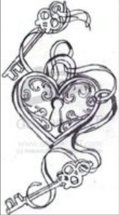 Key to my heart tattoo. Would have 3 keys with swirls of ribbon of my kids initials