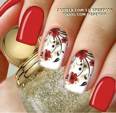 Top 50 Red and white nail design for beautiful girls - nail4art