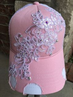 1acdecc0c4609 New Women s Pink White Rhinestone and Lace Trucker Hat Baseball Hat Cap Hat