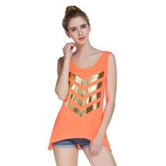 Women Vest 2016 Fashion Gold Bronzing Printing Loose Shirt Sexy Summer Sling Top Blouse Clothes #LWN
