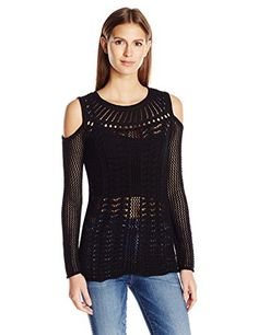 Jessica Simpson Women's Cierra Sweater, Black, S. This sweater is right on trend featuring a cold shoulder. This sweater is a must have and looks great on anyone. Women's Sweaters, Black Sweaters, Pullover Sweaters, Sweater Cardigan, Sweaters For Women, Must Haves, Looks Great, Cold Shoulder, Image Link