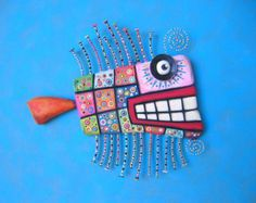 Quilted Rainbow Trout, Original Found Object Wall Sculpture, Wood Carving, Wall Decor, by Fig Jam Studio