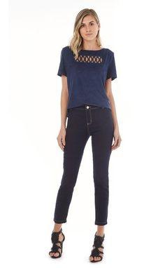 575562df0 MARIA VALENTINA MODA FEMININA · Calca Essential Jeans M. Julia Det.  Alfaiataria Jeans