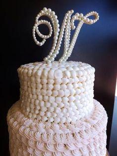 White Pearl Wedding Cake Topper Monogram by cristina