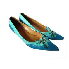1980'S HERMES BLUE KITTEN HEEL SHOES
