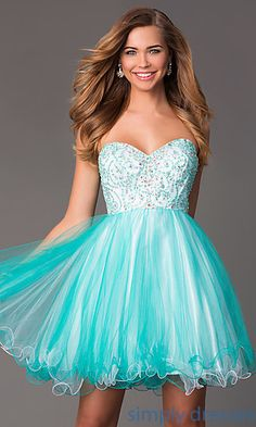 Shop for jade and white sweetheart corset style baby doll dresses and short prom dresses at SimplyDresses. Beaded strapless sweetheart party dresses.