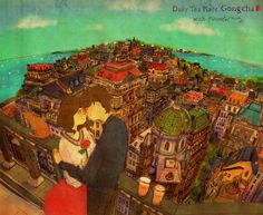 """♥  LOVE YOU  ~  …and she bought a cup of tea then went out, walking up the street. I handed her a rose when she whirled around and shyly whispered, """"I love you.""""  ♥  by Puuung at www.grafolio.com/works/167485&from=cr_fd&folderNo=6861 ♥"""