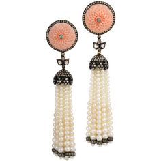 Peau D'ange Coral Tassel Earrings (5,725 CAD) found on Polyvore