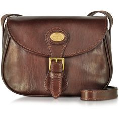 The Bridge Handbags Story Donna Marrone Leather Shoulder Bag ($555) ❤ liked on Polyvore featuring bags, handbags, shoulder bags, brown, brown leather pouch, vintage leather purse, leather handbags, leather crossbody purse and purse crossbody