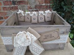 Apple Crate Wedding Card Post Box Handmade Bunting by TheIvoryBow