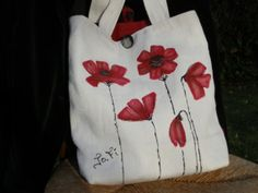 Hand Painted Poppy Tote Shopper Shoulder Bag by JoFiArtCreations, $85.00