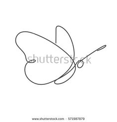 Continuous line butterfly. Black and white vector illustration. One line drawing. Concept for logo, card, banner, poster, flyer