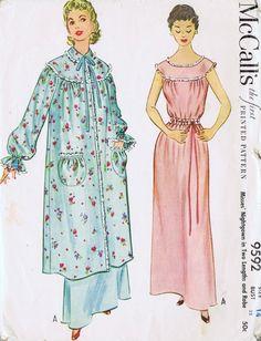 "VINTAGE NIGHTGOWN ROBE 50s SEWING PATTERN 9592 MCCALLS SZ 14 BUST 32 HIP 35"" CUT 