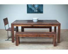 Beautiful Modern Dining Table/ Reclaimed Wood. $1,575.00, via Etsy.