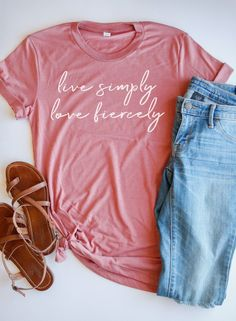 Are you a minimalist gal who loves to simplify? Let this adorable tee be your mantra! When we live simpler lives, we have more time and energy to love people fiercely.Looks so cute paired with jeans or under a jacket ; Christian Clothing, Christian Gifts, Christian Women, Christian Apparel, Christian Tees, Living Simple Life, Bible Study Tools, Into The Fire, Love People