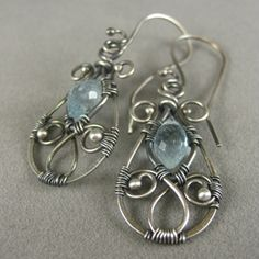 Aquamarine Sterling Silver Wire Earrings