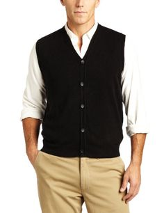 Geoffrey Beene Men's Supersoft Button Vest Sweater