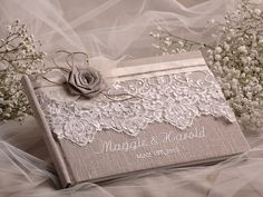 Wedding Guest Book Guestbook Lace Shabby Chic by DecorisWedding, $50.00