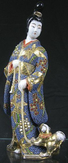 19th C Large Japanese Chinese Kimono Geisha Lady Dog Porcelain Figurine | eBay