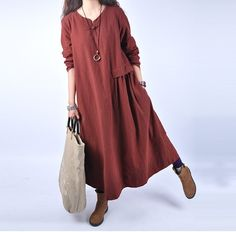 Women casual loose 100% linen maxi dress