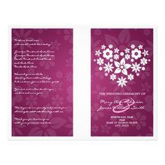 Wedding Program Flowery Heart Berry Pink Flyers