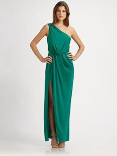 Green one shoulder BCBG. Kind of ehh, would have to try on. Green not kelly enough