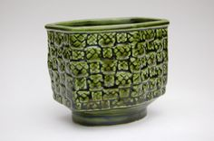 Vintage Small Green Container Christmas Decor Pottery Basket Weave Vase Made In Japan by Brody Candy/Nut Dish 60s 70s Midcentury Olive Green by lizzyandgrace on Etsy https://www.etsy.com/listing/487355791/vintage-small-green-container-christmas