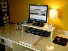 DIY desk riser from scrap plywood. Organized. - 4 Men 1 Lady
