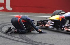 Sebastian Vettel, tras ganar su cuarto título en el GP de la Índia de 2013.