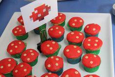 Minecraft birthday mushroom cupcakes