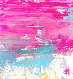 Abstract Original Acrylic Painting Titled Pink Lagoon 6 Teal, Neon Pink - Modern Art on Canvas