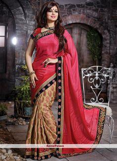 Ayesha Takia Hot Pink and Beige Embroidered Work Designer Saree