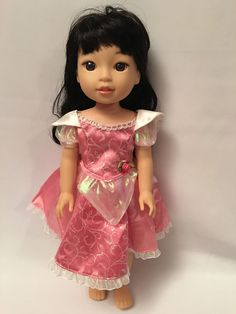 """For 14.5"""" American Girl Wellie Wishers Doll CLothes Princess Aurora Costume Pink #Disney"""