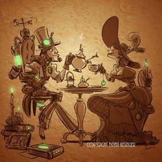 Steampunk Tea Artwork by Brian Kesinger