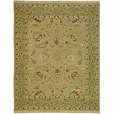 Indo Sumak Handmade Treasure Taupe/ Green Rug (10' x 14')