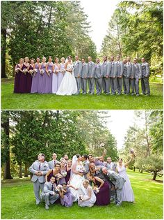 The purple ombre bridesmaids dresses looks awesome in this large wedding party. Iowa Wedding Photography | CTW Photography