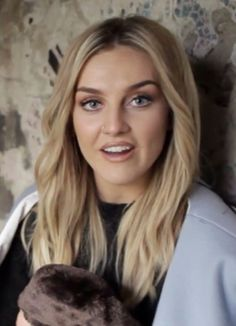 Perrie Edwards ~ Off Straight Hair - Bangs Curled Back & Brown/Peach Eye Shadow + Nude/Peach Lip & Thick Eyebrows