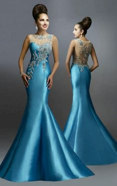 Awesome Evening Gowns Backless Ideas for Bride looks More Elegant - Dresses/Kleider - Abendkleid Beautiful Evening Gowns, Blue Evening Dresses, Mermaid Evening Dresses, Beautiful Dresses, Prom Dresses, Bride Dresses, Designer Formal Dresses, Formal Gowns, Long Gowns
