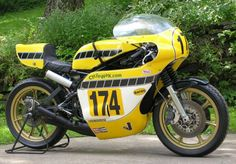 Yamaha TZ750B - According to the seller, C&J built four special monoshock Yamaha TZ frames for Erv Kanemoto's race team for competition in the mid 70s. This example competed in the Daytona 200 in '76 and '77 – the first time around it placed in the money thanks to the riding of Cory Ruppelt.