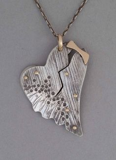 Tortured Heart Pendant with 14K Patch and Rivets by Stephanie Ritchie