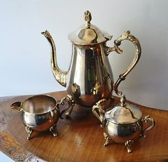 Coffee pot, creamer and lidded sugar dish. Coffee pot is high to the top of finial on lid and ( weight. Some marks (patina) and light wear. Coffee Service, Pot Sets, Cream And Sugar, Espresso Coffee, Marcasite, Vintage Silver, Silver Plate, Tea Pots, Plating