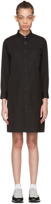 Comme des Garcons Black Poplin Shirt Dress