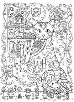 Cat Cats Kitty Kitties Kitten Kittens Feline Gatos  Katze chat gatto cat котэ  kočka druku gato katt macska tulostettava Coloring pages colouring adult detailed advanced printable Kleuren voor volwassenen coloriage pour adulte anti-stress kleurplaat voor volwassenen Line Art Black and White Abstract Doodle Zentangle ZenDoodle Paisley