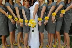 grey and yellow wedding   I love the bridesmaids dresses!