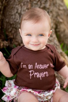Answer To Prayers, Baby Set, Baby Ruffled Bloomer, Baby Onesie, Answered Prayers, Christian Baby Onesie