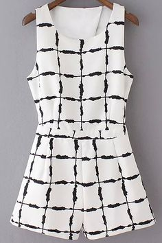 97d0e8d32e Ink Checked Cut Out Round Neck Sleeveless Playsuit. Black And White RomperBlack  WhiteWhite Jumpsuits ...