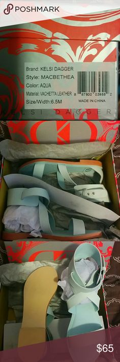 Pretty Aqua Sandal Never worn Kelsi Dagger Shoes Sandals