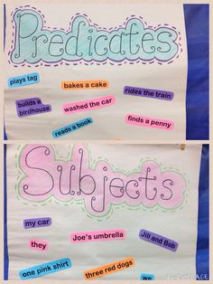 Students sorted out subjects and predicates onto the appropriate chart. More fun than pencil and paper work!